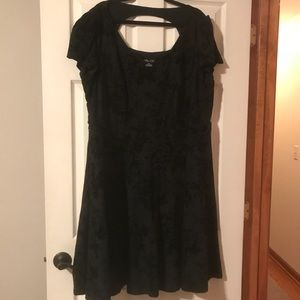 City Chic Fit & Flare Velvet Black Dress XXL NWOT